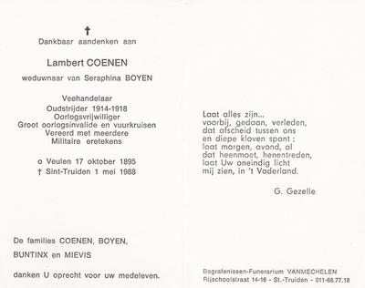 Doodsprent Coenen Joseph Lambert