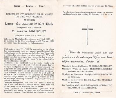 Doodsprent van Michiels Guillaume