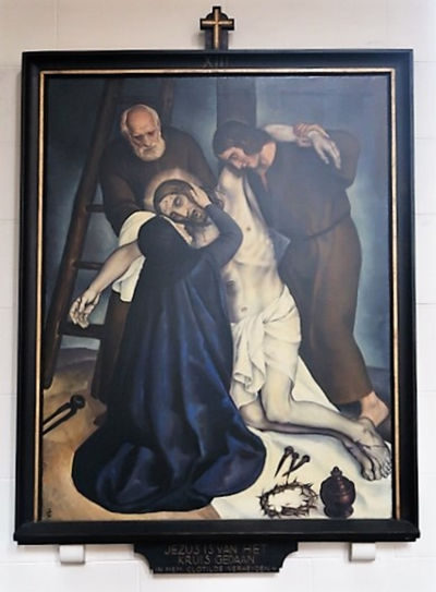 Kruiswegstatie XIII: Jezus wordt van het kruis afgenomen