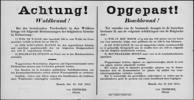 Hasselt, affiche van 16 juli 1915 - voorkomen van bosbranden.