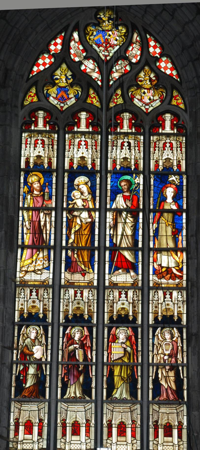 glas-in-loodraam S. Henricus, S. Maria, S. Josephus, S. Eulalia