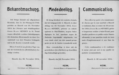 Hasselt, affiche van 26 november 1914 - veroordeling Jozef Blasius Senden.