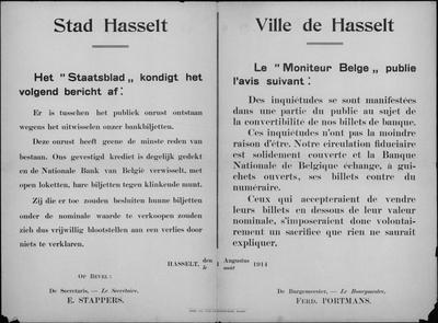 Stad Hasselt, affiche van 1 augustus 1914 - bankbiljetten.