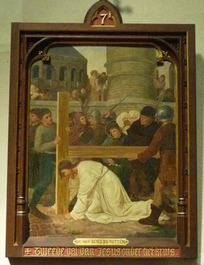 Statie 7: Tweede val van Jezus onder het kruis.