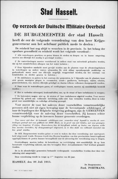 Stad Hasselt, affiche van 26 juli 1915 - verordening onderhoud grachten, sloten, goten en afvoerbuizen afvalwater.