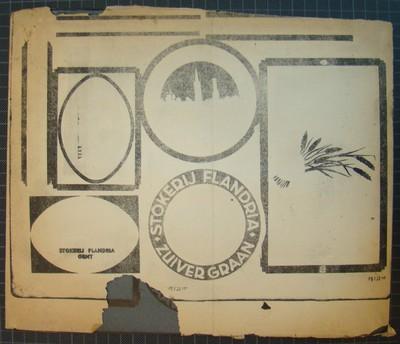 Drukplaat voor litho buiketiket 'Stokerij Flandria, Zuiver Graan, Gent', voor Marlier, Gent