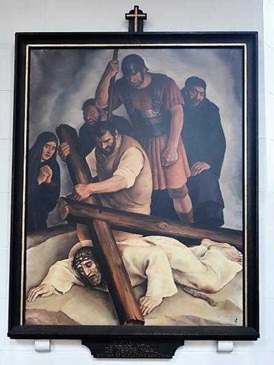 Kruiswegstatie IX: Jezus valt voor de derde maal onder het kruis