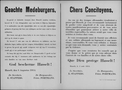 Stad Hasselt, affiche van 5 augustus 1914 - onthouden van vijandigheden.