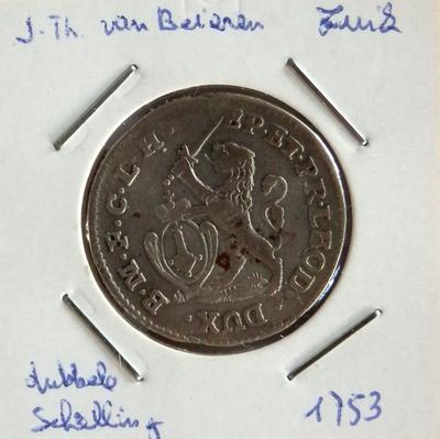 2 Schelling, geslagen te Luik, 1753, Johan-Theodoor van Beieren, zilver