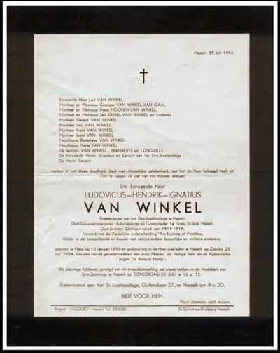 Doodsbrief van Van Winkel Ludovicus