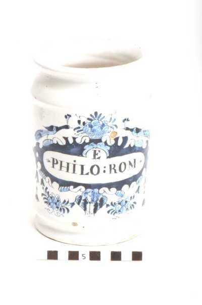 Delfts blauwe apothekerspot; E PHILO:ROM - SULPH: SODÆ
