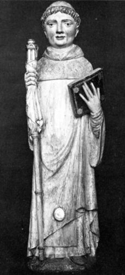 Eikenhouten beeld van Heilige Bernardus van Clairvaux.