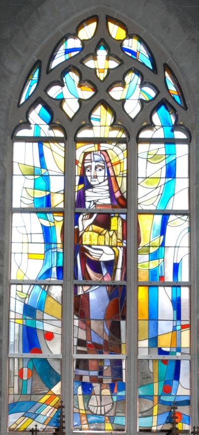 glas-in-loodraam H. Gertrudis patrones van de parochie