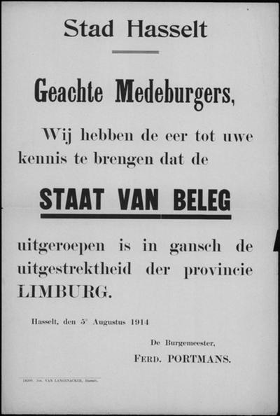 Stad Hasselt, affiche van 5 augustus 1914 - staat van beleg.
