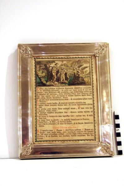 klein canonbord in zilver uit de 18e eeuw met een voorstelling van het doopsel van christus