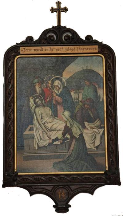 Statie 14: Jesus wordt in zijn graf gelegd (begraven).