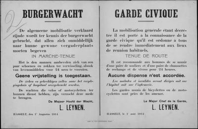 Hasselt, affiche van 1 augustus 1914 - burgerwacht.