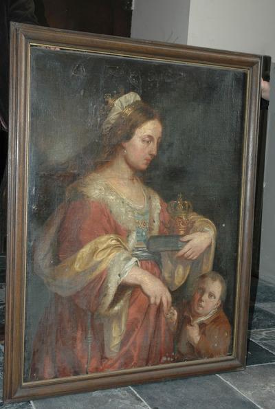Heilige Elisabeth van Hongarije deelt aalmoezen uit