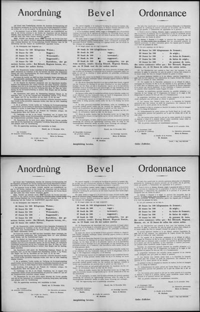 Hasselt, affiche van 13 november 1914 - maximumprijzen en regels voor voedingsproducten.