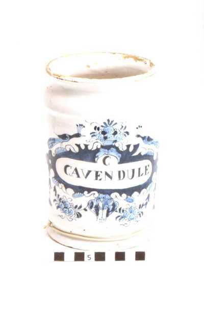 Delfts blauwe apothekerspot; C CAVENDULE - SULPH: MAGNES(...)