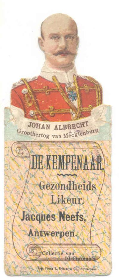 Verzamelkaart 'Johan Albrecht, Groothertog van Mecklenburg' voor Elixir De Kempenaar van stokerij Neefs, Antwerpen