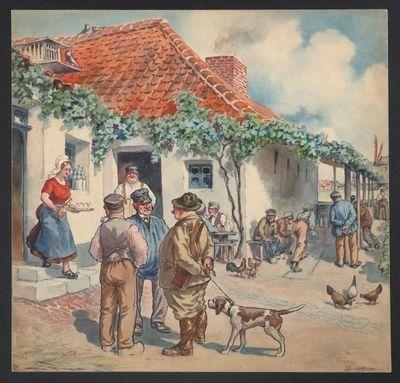 Afficheontwerp 'Elixir de Kempische Jagers' voor stokerij Hellemans, Mertens & Co, Antwerpen, ca. 1905
