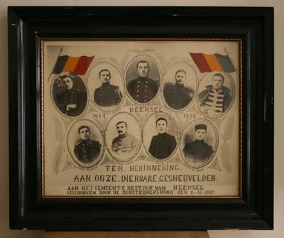 Collage van de Beerselse gesneuvelden uit de Eerste Wereldoorlog