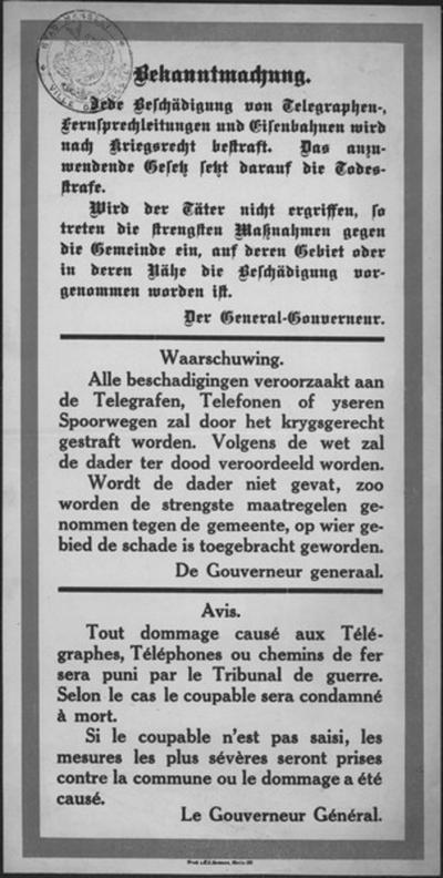 Affiche van (september) 1914 - maatregelen beschadigingen.