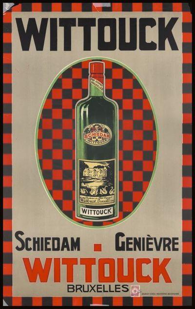 Exterieuraffiche 'Wittouck Schiedam Genièvre' voor stokerij Félix Wittouck, St-Pieters-Leeuw, ca. 1910