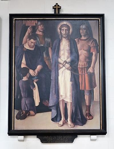 Kruiswegstatie I: Jezus wordt ter dood veroordeeld