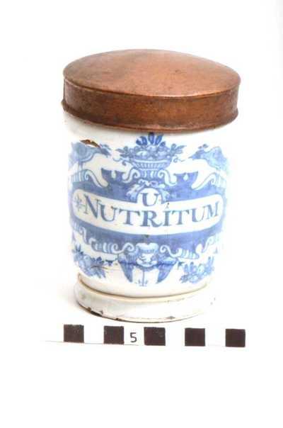 Delfts blauwe apothekerspot; U NUTRITUM - SULPH: AUR: ANT: