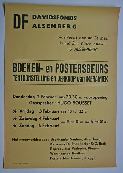 Affiche boeken- en posterbeurs van het Davidsfonds Alsemberg in 1984