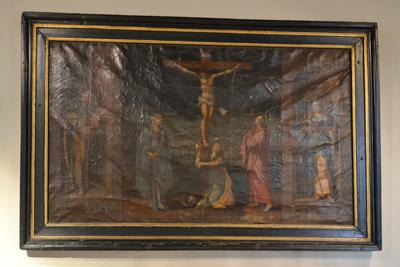 Gekruisigde Christus vergezeld van H. Jacobus en H. Barbara