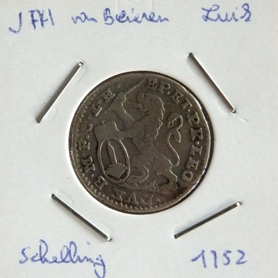1 Schelling, geslagen te Luik, 1752, Johan-Theodoor van Beieren, zilver