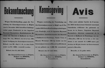Brussel, affiche van 15 juli 1915 - veroordeling bestuurder vennootschap.
