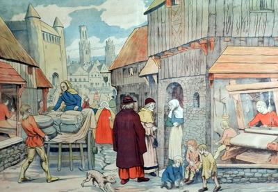 31. De gemeente in de XIIIe eeuw: Vlaamsche Wevers werken vóór het raam
