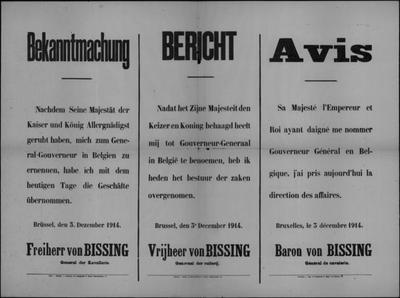 Brussel, affiche van 3 december 1914 - aanstelling tot gouverneur-generaal.