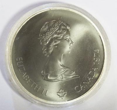 5 Dollars, 1974, Elisabeth II, Canada, Olympiade XXI Montréal, Atleet met fakkel, zilver