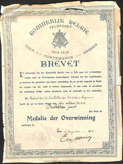 Brevet. Medalie der overwinning van Duchateau Joseph