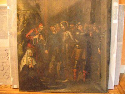 Jezus voor Kajafas, met schenkersportret van een kloosterzuster