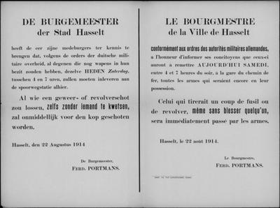 Stad Hasselt, affiche van 22 augustus 1914 - inleveren wapens.