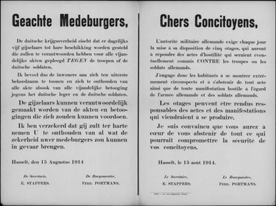 Stad Hasselt, affiche van 15 augustus 1914 - gijzelaars en acties.