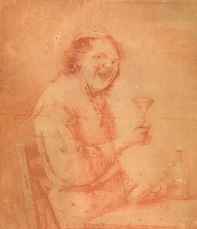Figuur die het glas heft
