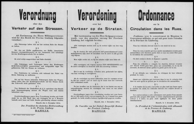 Hasselt, Provincie Limburg, affiche van 5 december 1914 - verordening wegverkeer.