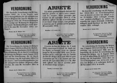 Brussel, affiche van 21 oktober 1914 - verordeningen banktegoeden.