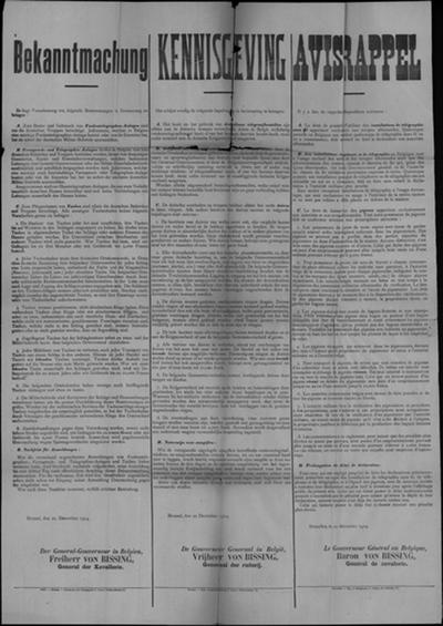Brussel, affiche van 22 december 1914 - regels voor gebuik telegraaf en houden van duiven.