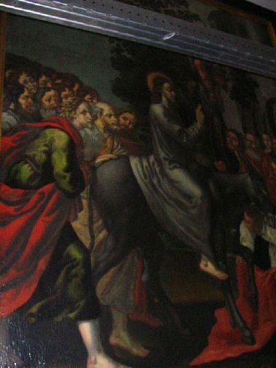 De intrede van Jezus in Jeruzalem met schenkersportret van een kloosterzuster