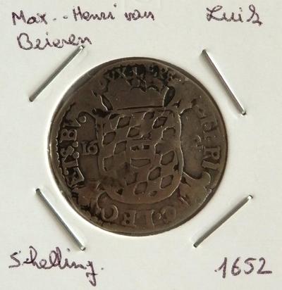 Schelling, geslagen te Luik, 1652, Maximiliaan-Hendrik van Beieren, zilver