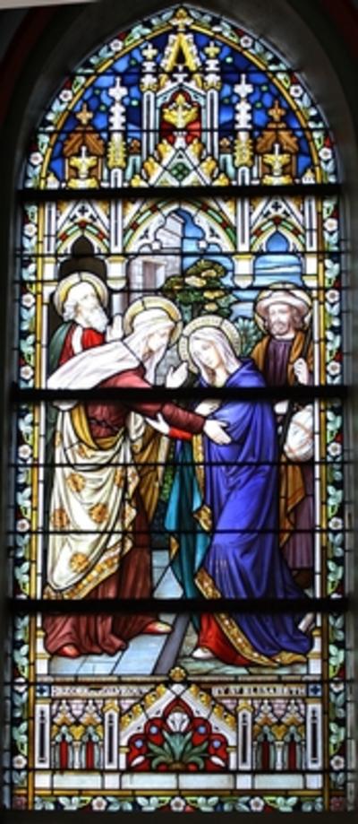 Vier glasramen met taferelen uit het leven van Maria
