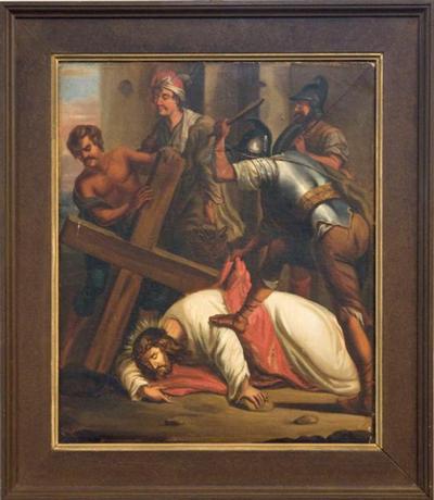 Schilderij kruisweg negende statie